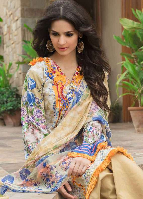 Zara Khan Embroidered Lawn Unstitched 3 Piece Suit ZK18L 4A - Spring Collection