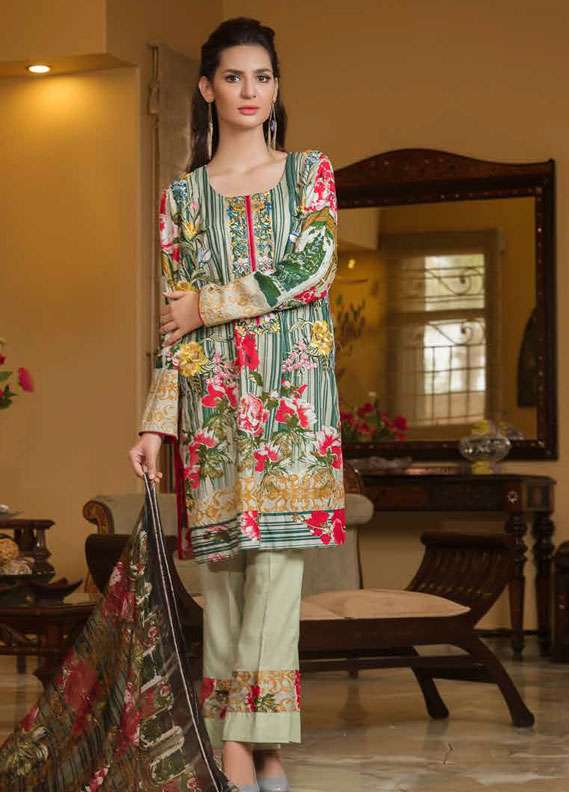 Zara Khan Embroidered Lawn Unstitched 3 Piece Suit ZK18L 5A - Spring Collection