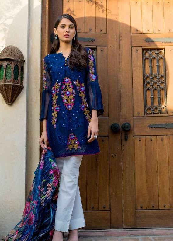 Veena Durrani Embroidered Chiffon Unstitched 2 Piece Suit ZO17C1 12A