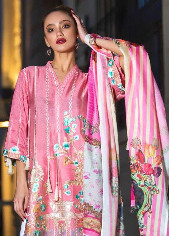 Veena Durrani Embroidered Chiffon Unstitched 2 Piece Suit ZO17C1 6A