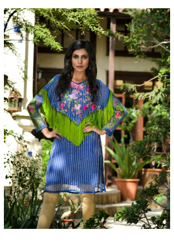 Veena Durrani Embroidered Chiffon Unstitched Kurtis ZO17C 13A