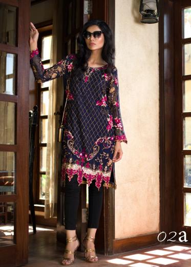 Veena Durrani Embroidered Chiffon Unstitched Kurtis ZO17C 2A