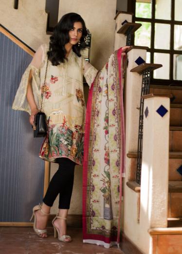 Veena Durrani Embroidered Organza Unstitched 2 Piece Suit ZO17C 6A