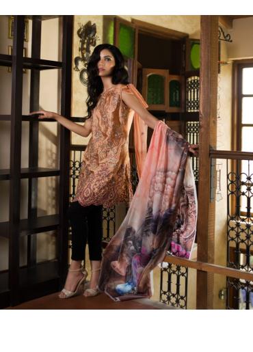 Veena Durrani Embroidered Chiffon Unstitched 2 Piece Suit ZO17C 7A