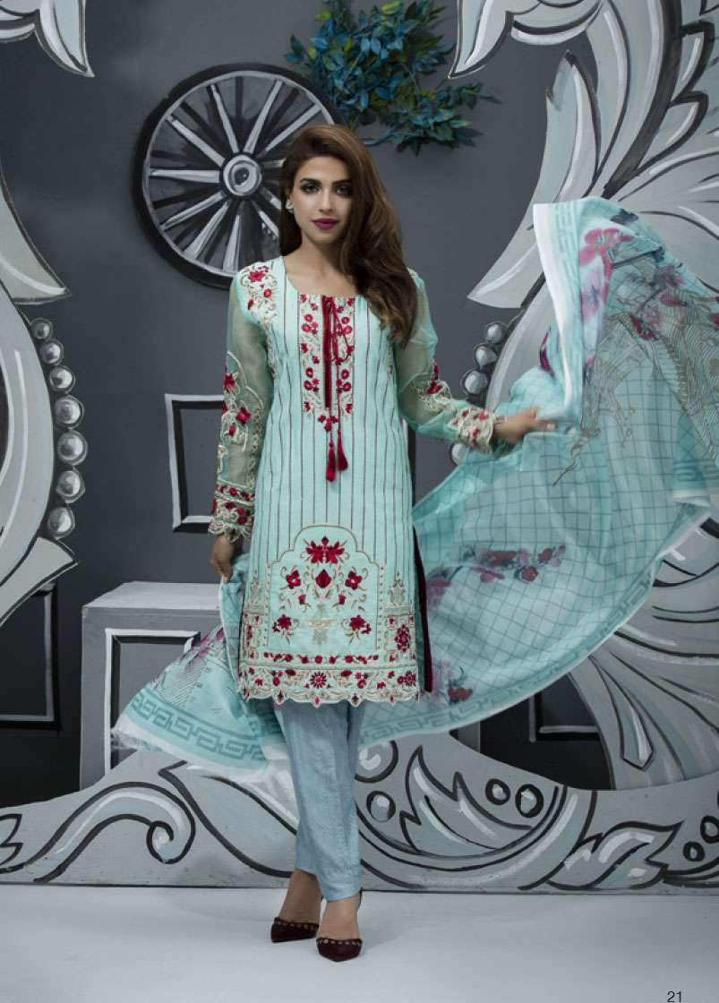 Veena Durrani Embroidered Lawn Unstitched 2 Piece Suit ZO17T4 05
