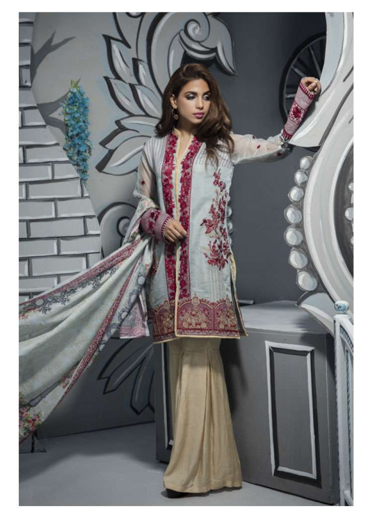 Veena Durrani Embroidered Lawn Unstitched 2 Piece Suit ZO17T4 12