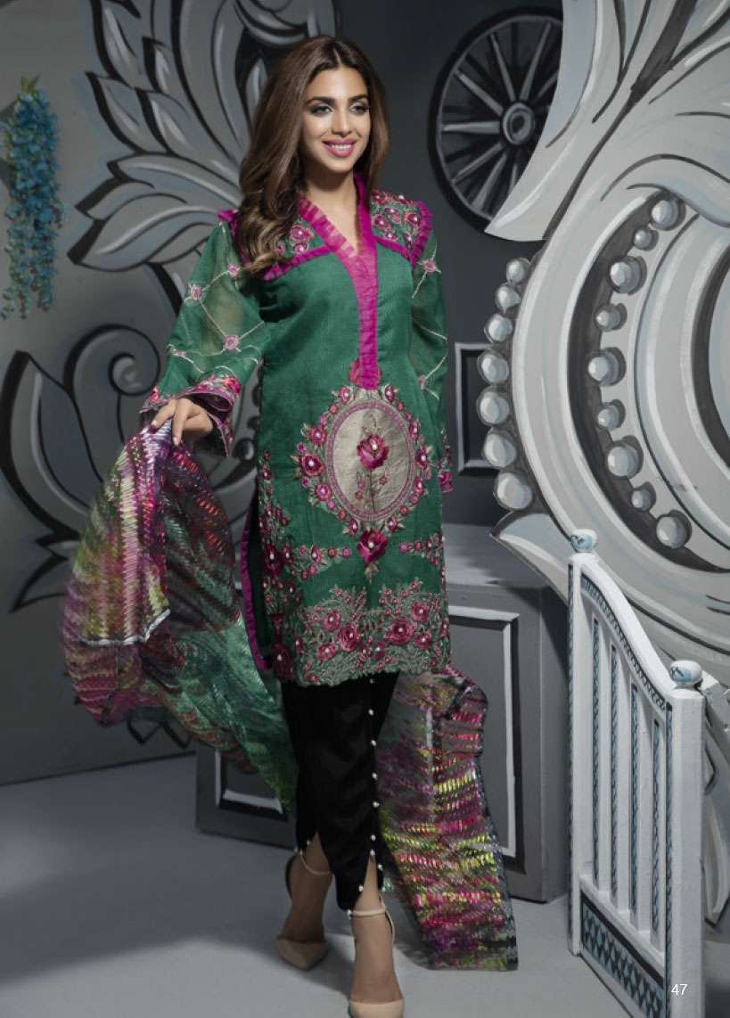 Veena Durrani Embroidered Lawn Unstitched 2 Piece Suit ZO17T4 13