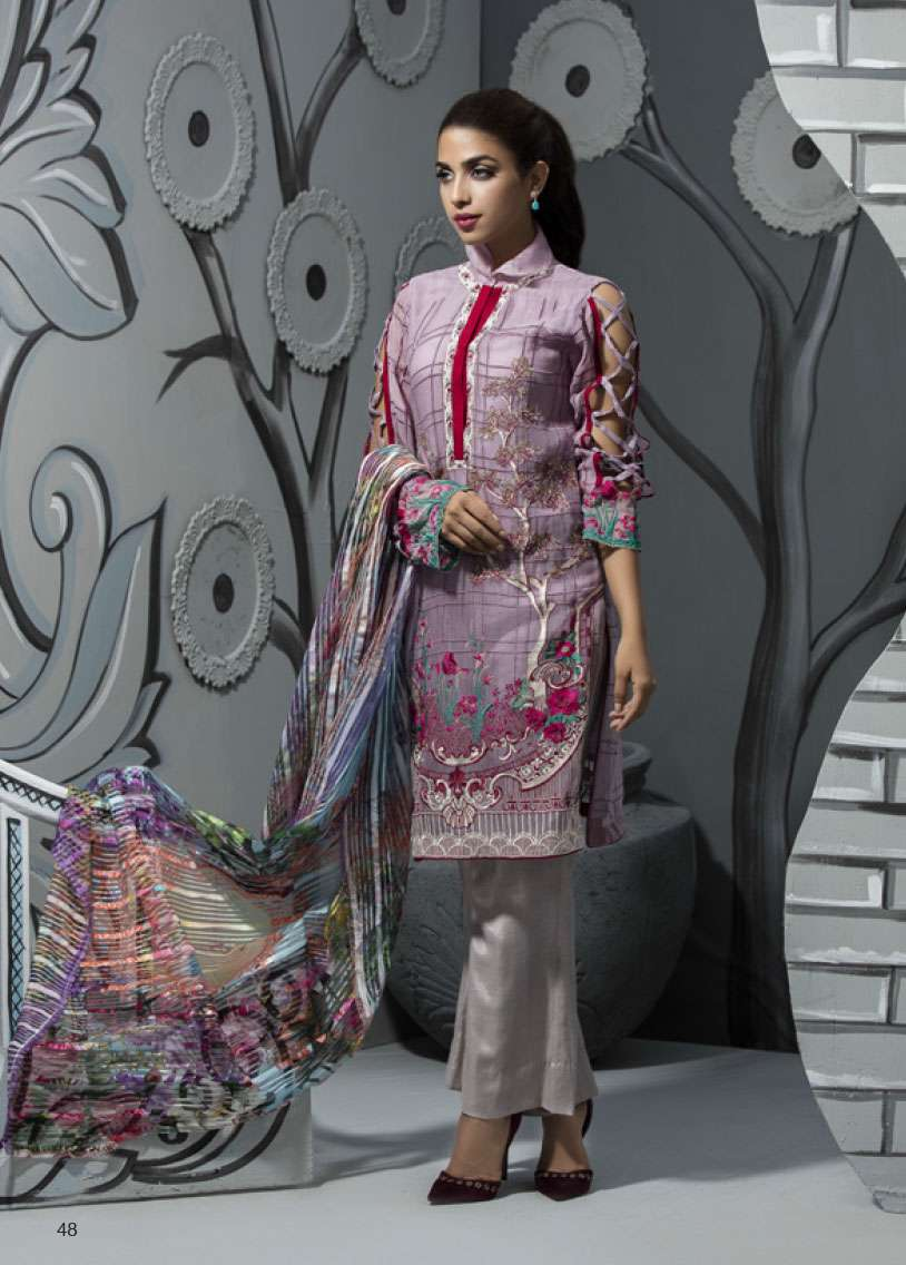 Veena Durrani Embroidered Lawn Unstitched 2 Piece Suit ZO17T4 14