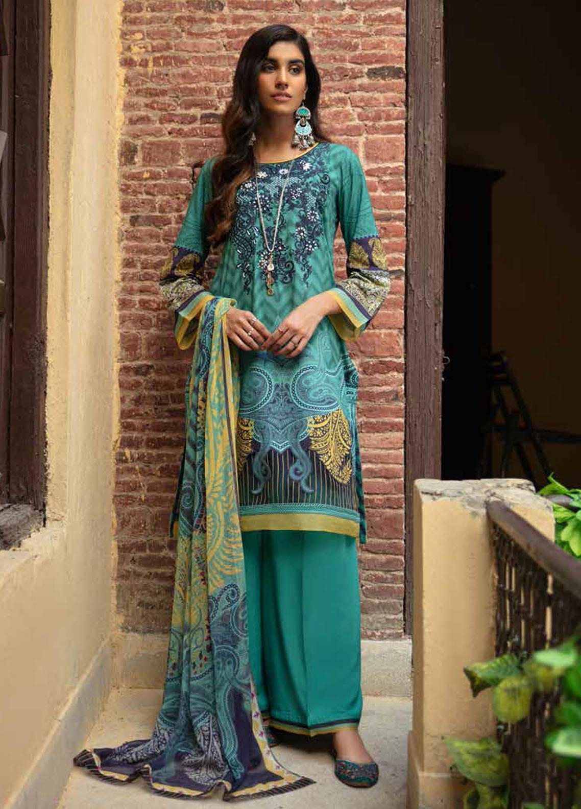 Zoya by Rang Rasiya Embroidered Linen Suits Unstitched 3 Piece RR21ZL 04 Blue Berry - Winter Collection