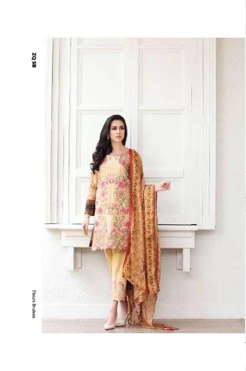 Zarqash Embroidered Lawn Unstitched 3 Piece Suit ZQ17L 5B