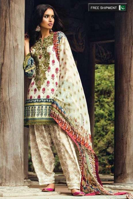 Zara Shahjahan Embroidered Lawn Unstitched 3 Piece Suit ZS17L Anarkali