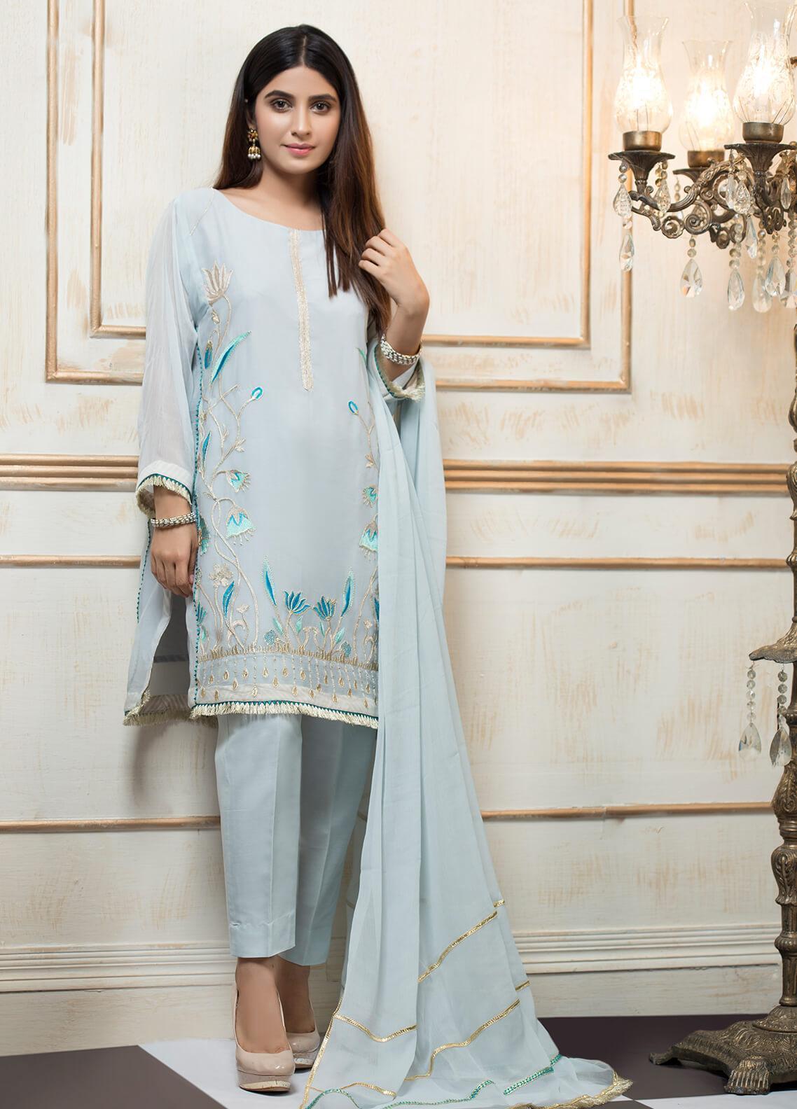 Zujaaj Embroidered Cotton Net Stitched 3 Piece Suit ZJ-154 Ice Blue