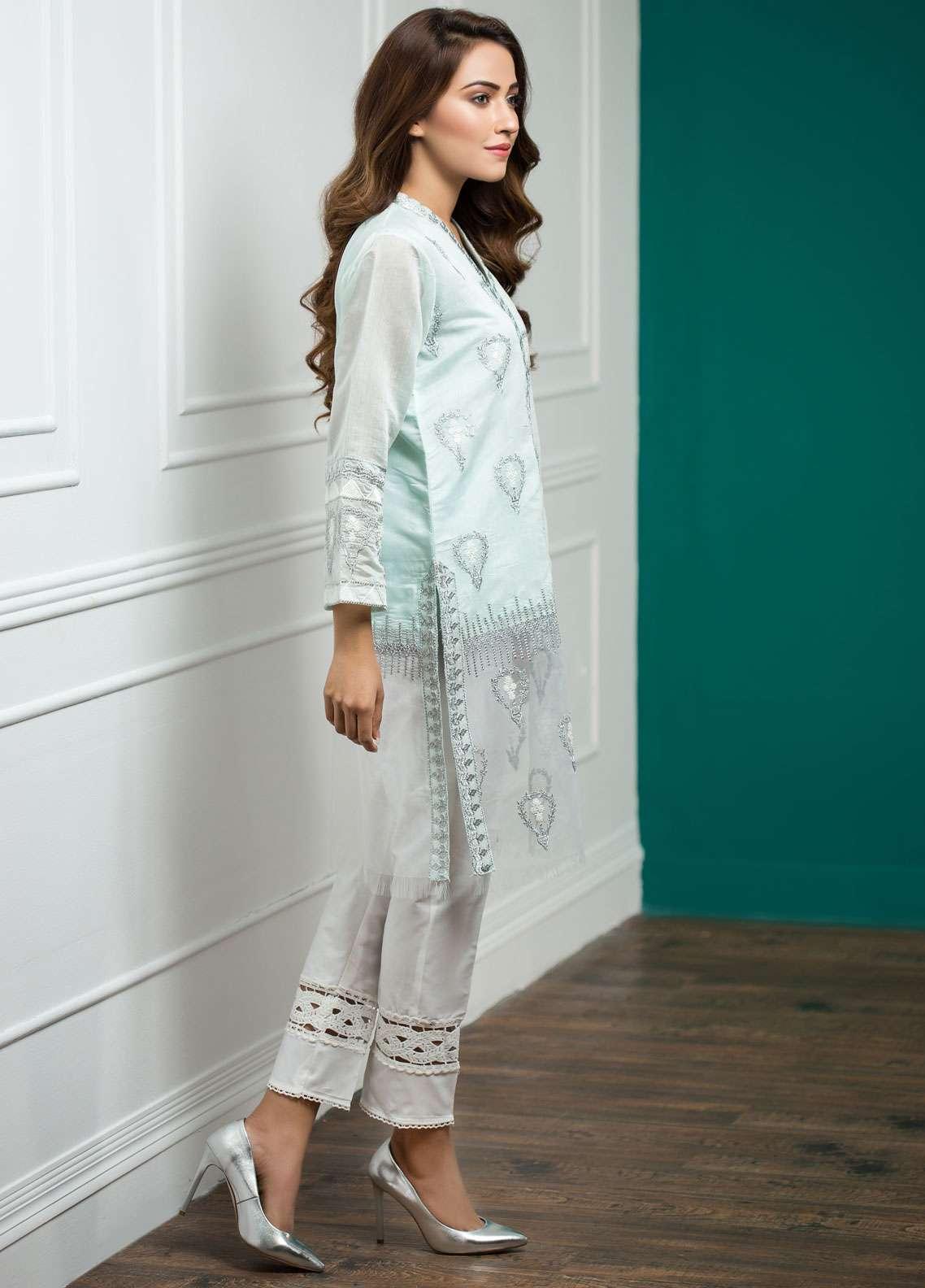 Zujaaj Embroidered Chiffon Stitched 3 Piece Suit ZJ-138 BLUE