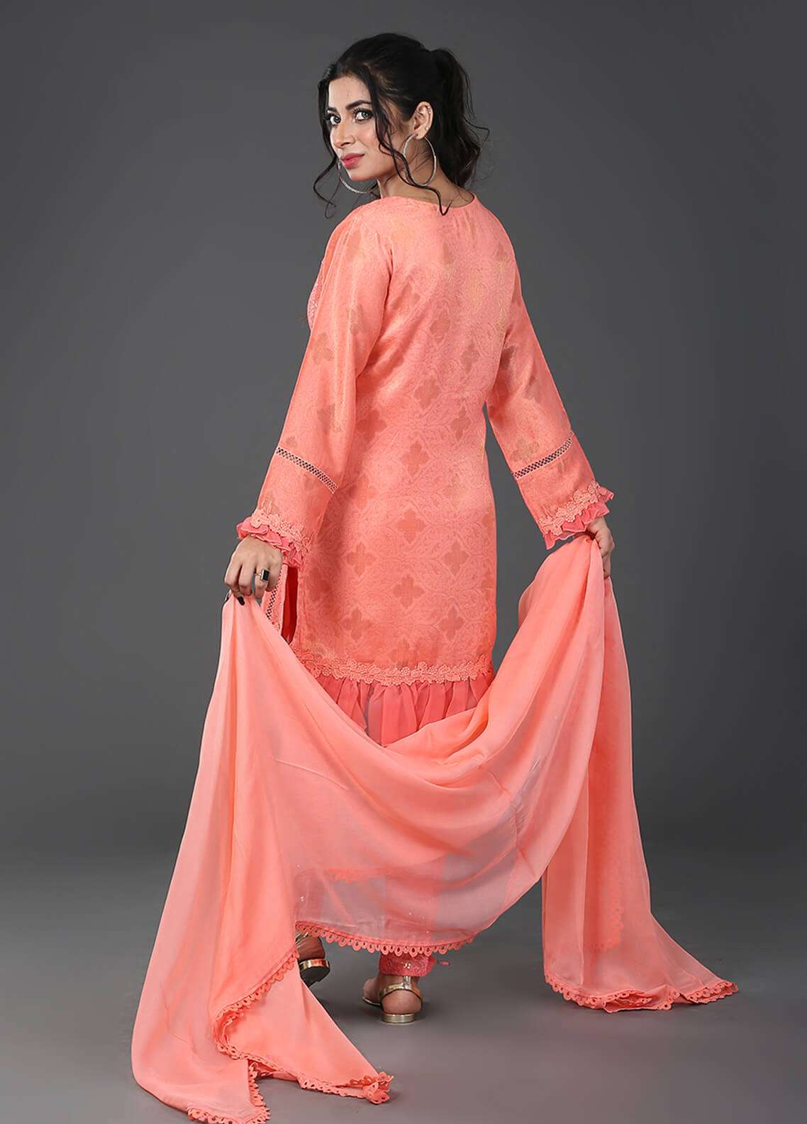 Zujaaj Embroidered  Stitched 3 Piece Suit ZJ-04 Peach