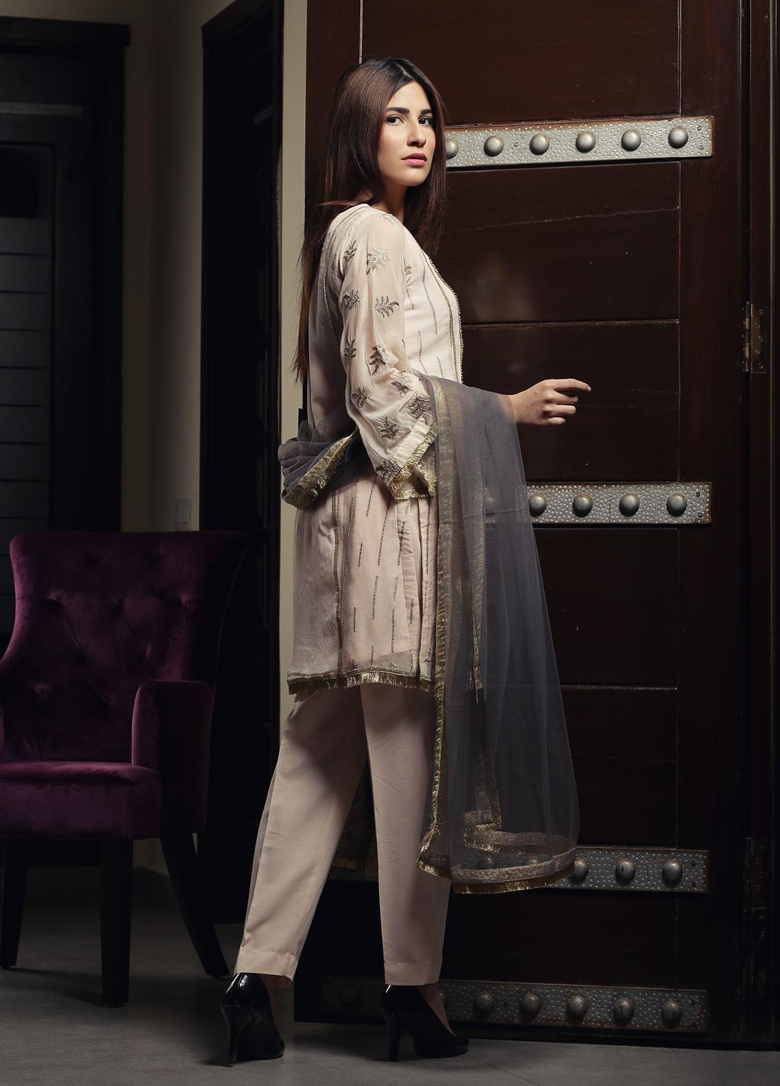 Zujaaj Embroidered Chiffon Stitched 3 Piece Suit ZJ-146 Peach and Grey
