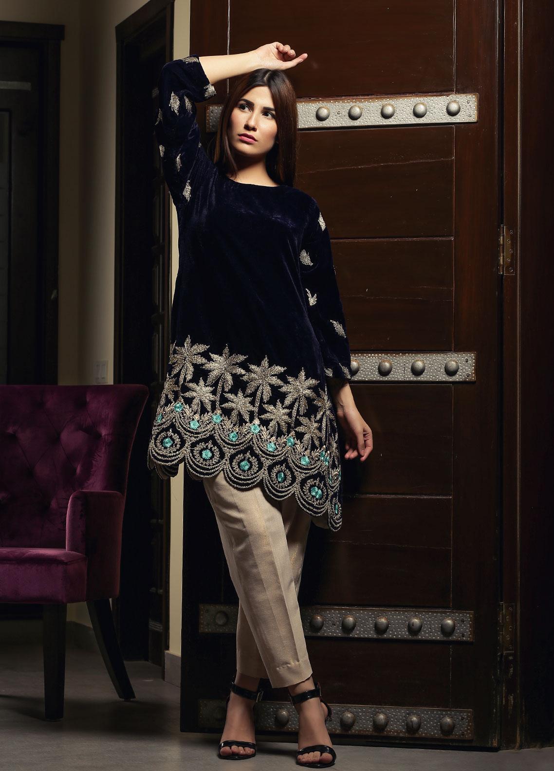 Zujaaj Embroidered Velvet Stitched Kurtis ZJ-170 Blue