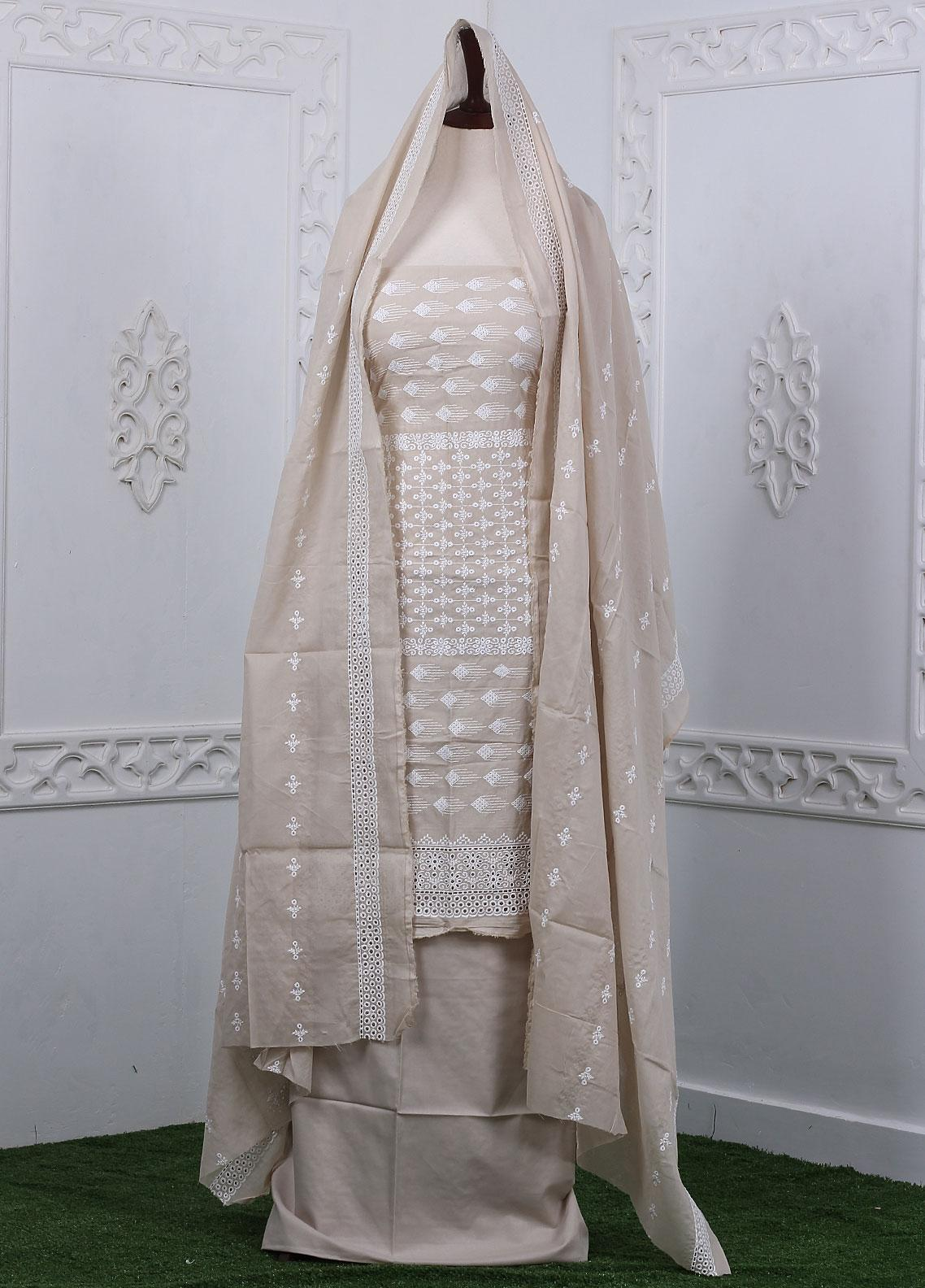 Zum Zum Embroidered Chikankari Unstitched 3 Piece Suit ZZ20CK ZmCh-11 - Summer Collection