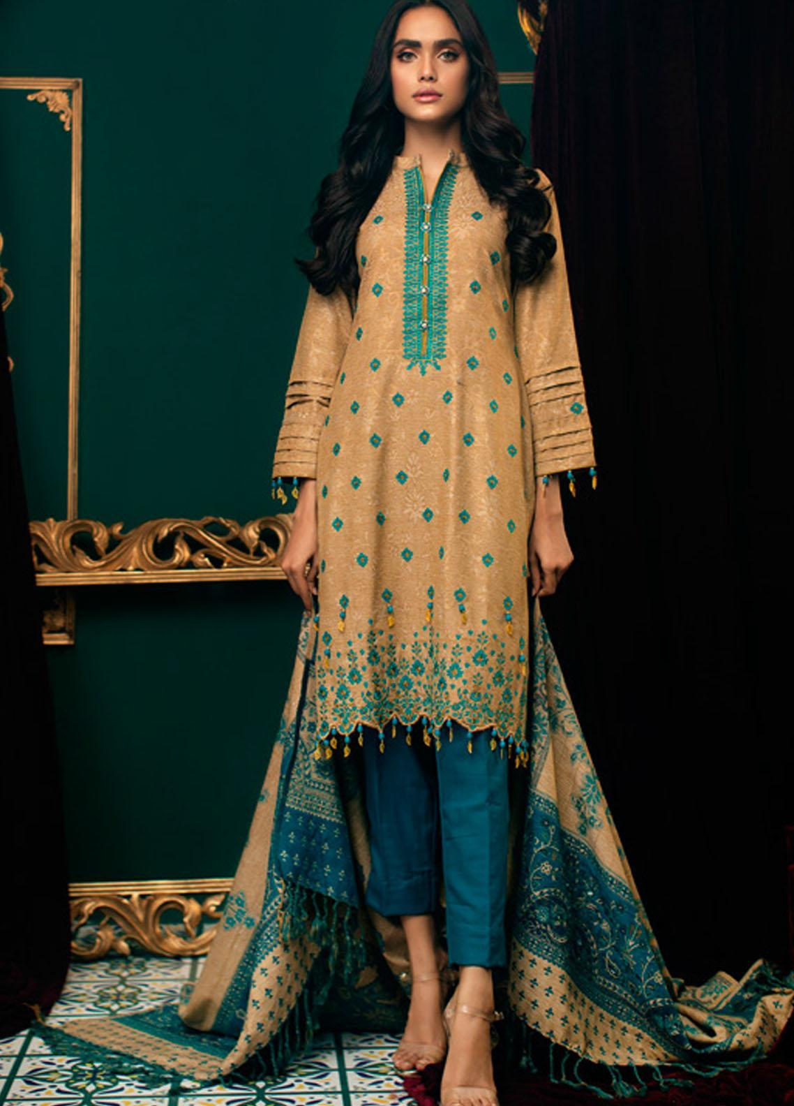 Zurr Kamalia by AB Textiles Embroidered Khaddar Unstitched 3 Piece Suit AB20ZK 02 Azul Clara - Winter Collection