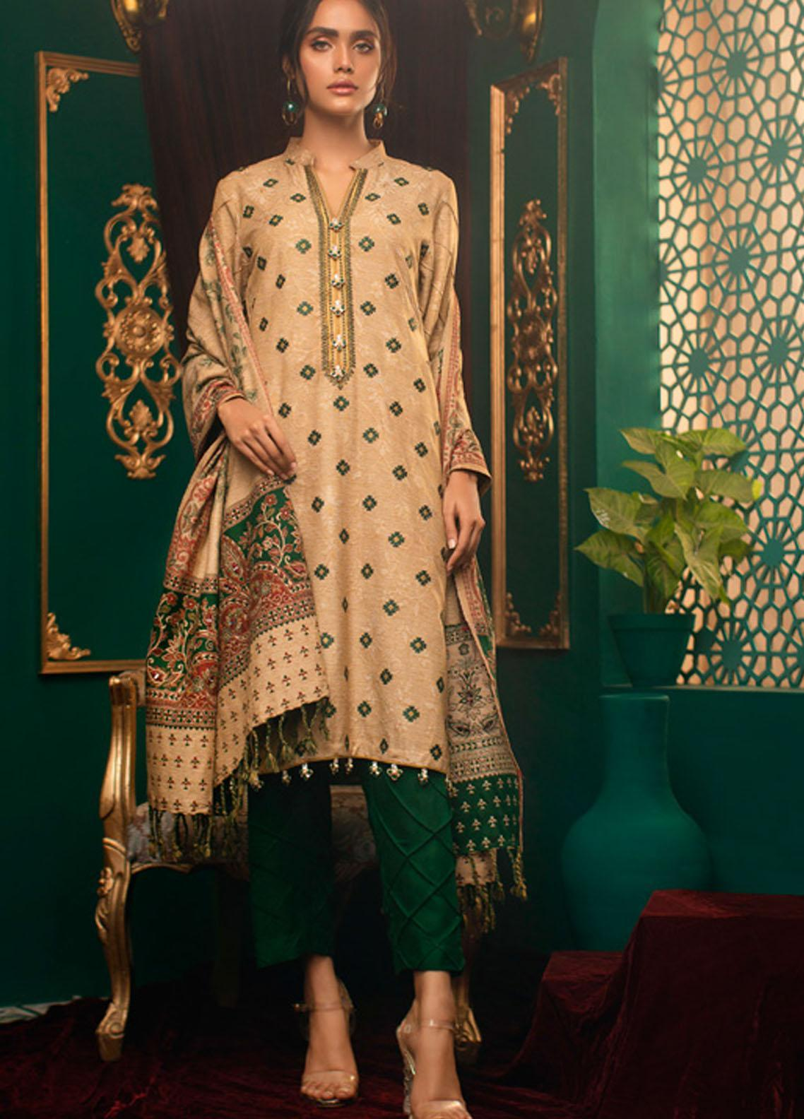 Zurr Kamalia by AB Textiles Embroidered Khaddar Unstitched 3 Piece Suit AB20ZK 08 Verde - Winter Collection